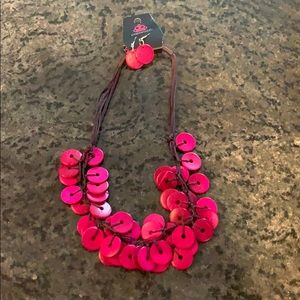 Paparazzi pink necklace and earrings